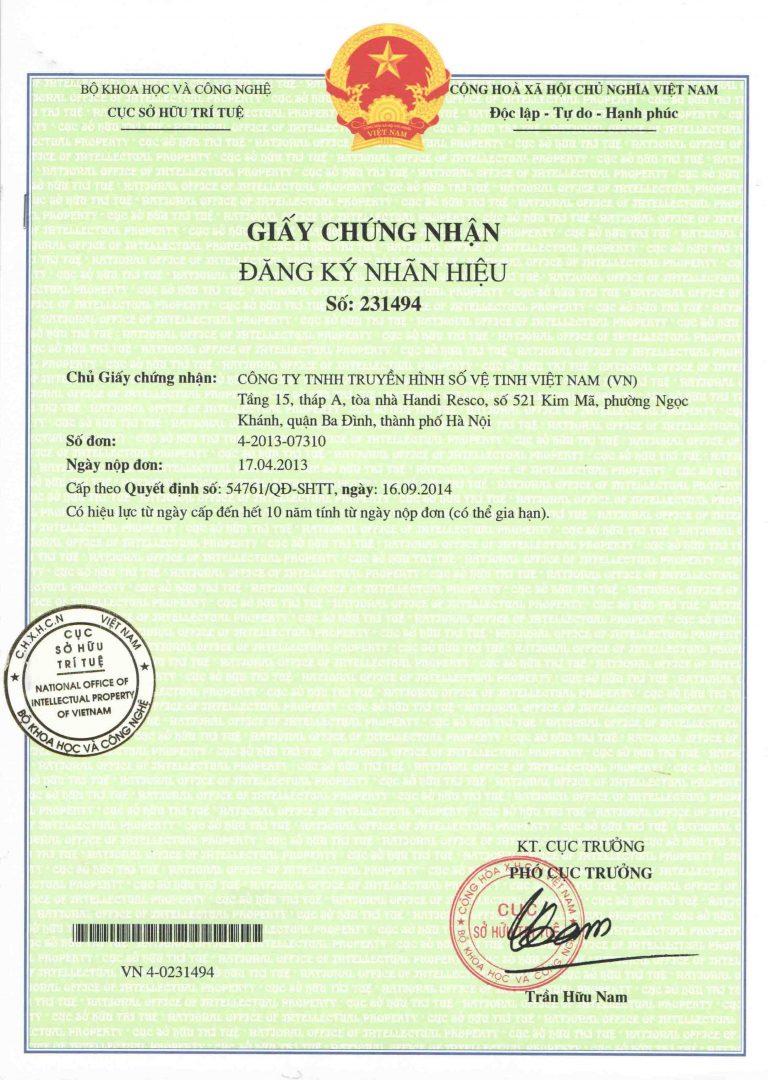 Giấy chứng nhận đăng ký nhãn hiệu số 231494